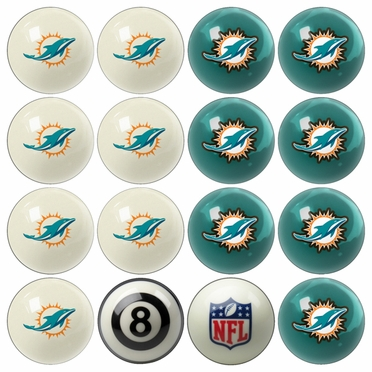 Miami Dolphins Home and Away Complete Billiard Ball Set
