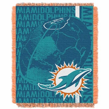 Miami Dolphins Jacquard Woven Throw Blanket