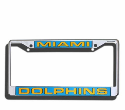Miami Dolphins Laser Etched Chrome License Plate Frame