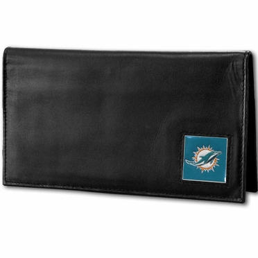 Miami Dolphins Leather Checkbook Cover