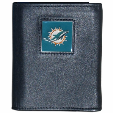 Miami Dolphins Leather Trifold Wallet (F)