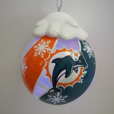 Miami Dolphins Light Up Glass Ball Ornament