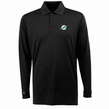 Miami Dolphins Mens Long Sleeve Polo Shirt (Color: Black)