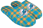 Miami Dolphins Mens Moccasin Non-Skid Slippers
