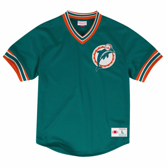 Miami Dolphins Mitchell Amp Ness Men S Mesh V Neck Jersey Shirt