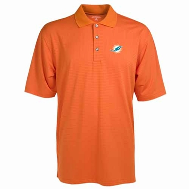 Miami Dolphins Mens Phoenix Waffle Weave Polo (Color: Orange)