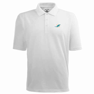Miami Dolphins Mens Pique Xtra Lite Polo Shirt (Color: White)