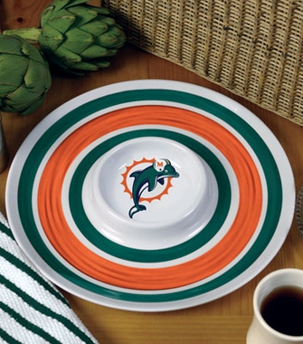 Miami Dolphins Plastic Chip and Dip Plate