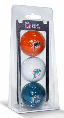Miami Dolphins Set of 3 Multicolor Golf Balls