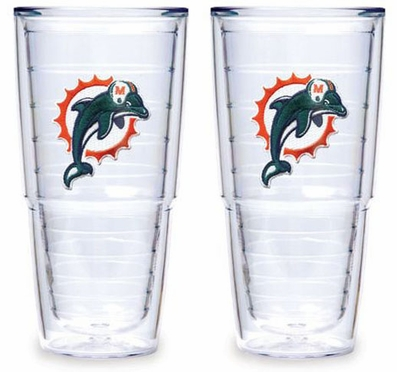 "Miami Dolphins Set of TWO 24 oz. ""Big T"" Tervis Tumblers"