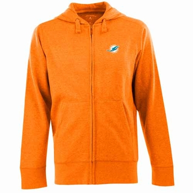 Miami Dolphins Mens Signature Full Zip Hooded Sweatshirt (Team Color: Orange)
