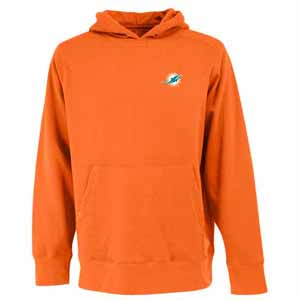 Miami Dolphins Mens Signature Hooded Sweatshirt (Color: Orange) - Small