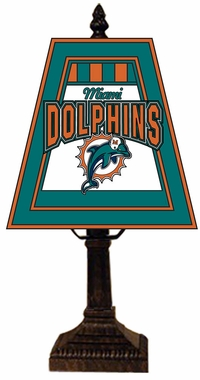 Miami Dolphins Small Art Glass Lamp