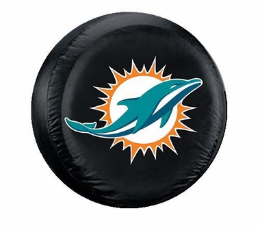 Miami Dolphins Black Tire Cover - Standard Size