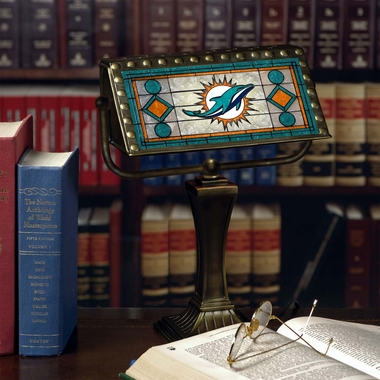 Miami Dolphins Stained Glass Bankers Lamp