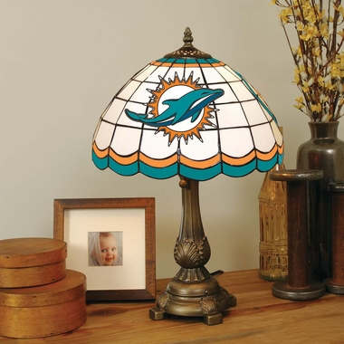 Miami Dolphins Stained Glass Table Lamp