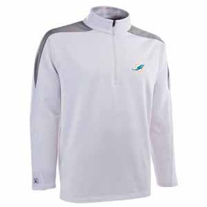 Miami Dolphins Mens Succeed 1/4 Zip Performance Pullover (Team Color: White) - Small