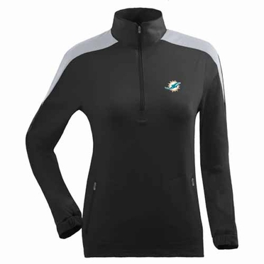 Miami Dolphins Womens Succeed 1/4 Zip Performance Pullover (Team Color: Black)