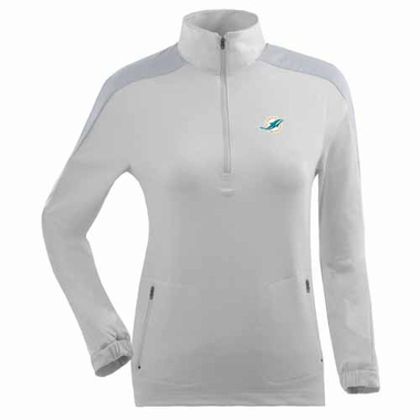 Miami Dolphins Womens Succeed 1/4 Zip Performance Pullover (Color: White)