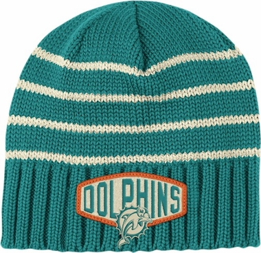 Miami Dolphins Throwback Felt Logo Cuffless Knit Hat