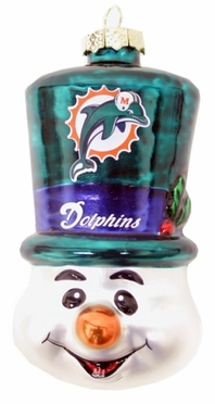 Miami Dolphins Tophat Snowman Glass Ornament