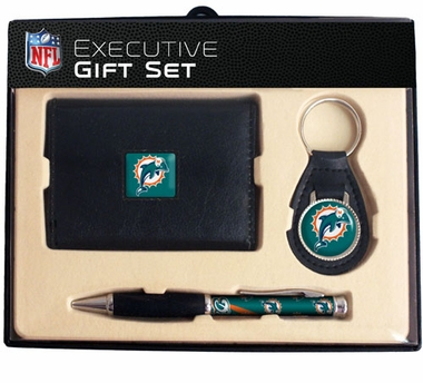 Miami Dolphins Trifold Wallet Key Fob and Pen Gift Set