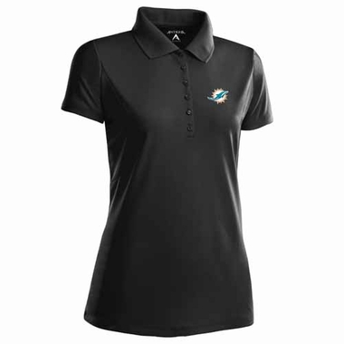 Miami Dolphins Womens Pique Xtra Lite Polo Shirt (Team Color: Black)
