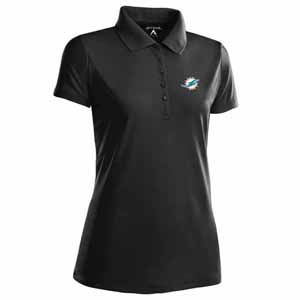 Miami Dolphins Womens Pique Xtra Lite Polo Shirt (Color: Black) - Large