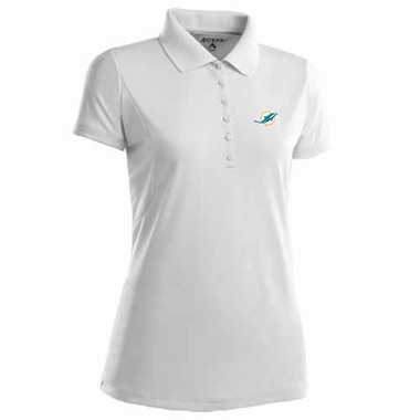 Miami Dolphins Womens Pique Xtra Lite Polo Shirt (Color: White)