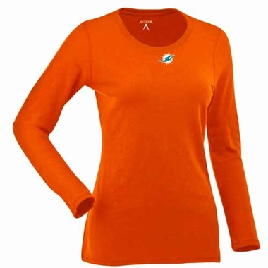 Miami Dolphins Womens Relax Long Sleeve Tee (Team Color: Orange)