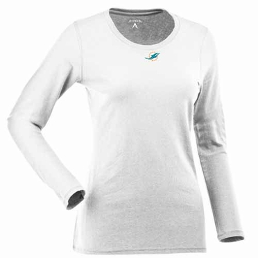 Miami Dolphins Womens Relax Long Sleeve Tee (Color: White)