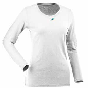 Miami Dolphins Womens Relax Long Sleeve Tee (Color: White) - Large