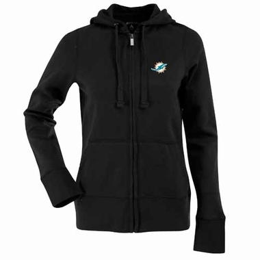 Miami Dolphins Womens Zip Front Hoody Sweatshirt (Alternate Color: Black)