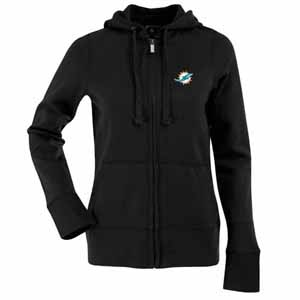 Miami Dolphins Womens Zip Front Hoody Sweatshirt (Alternate Color: Black) - Large
