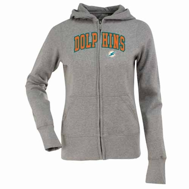 Miami Dolphins Applique Womens Zip Front Hoody Sweatshirt (Color: Gray)