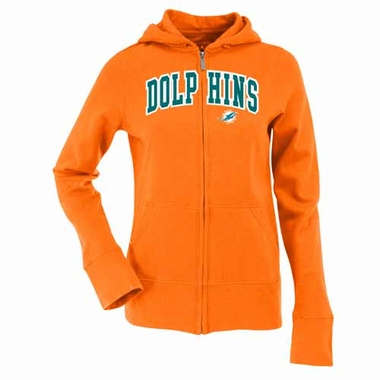 Miami Dolphins Applique Womens Zip Front Hoody Sweatshirt (Team Color: Orange)