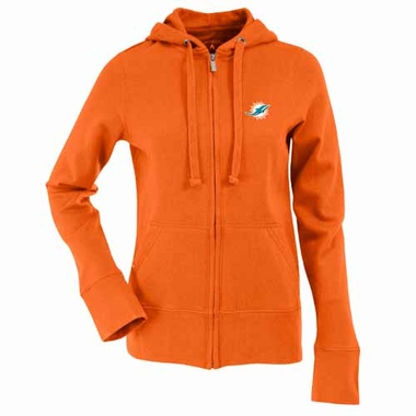 Miami Dolphins Womens Zip Front Hoody Sweatshirt (Team Color: Orange)