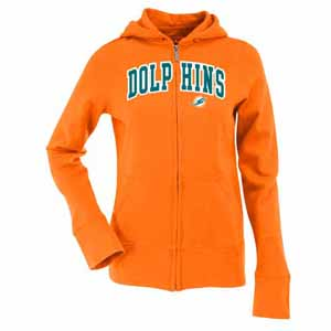 Miami Dolphins Applique Womens Zip Front Hoody Sweatshirt (Color: Orange) - Large