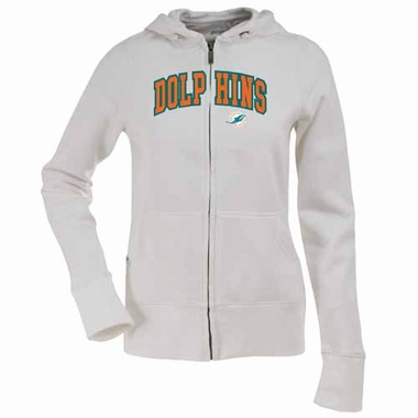Miami Dolphins Applique Womens Zip Front Hoody Sweatshirt (Color: White)