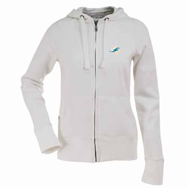 Miami Dolphins Womens Zip Front Hoody Sweatshirt (Color: White)