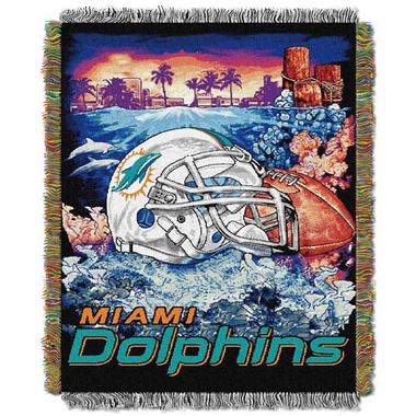Miami Dolphins Woven Tapestry Throw Blanket