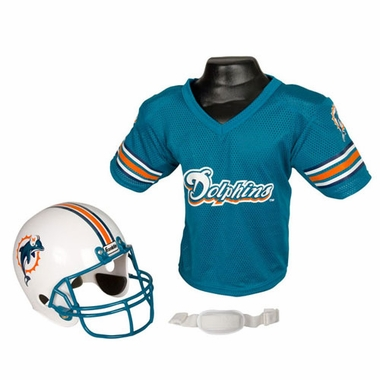Miami Dolphins Youth Helmet and Jersey Set