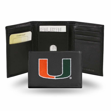 Miami Embroidered Leather Tri-Fold Wallet