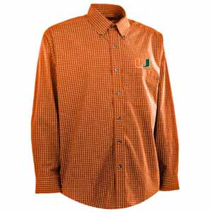 Miami Mens Esteem Check Pattern Button Down Dress Shirt (Team Color: Orange) - Large
