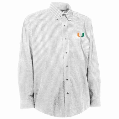 Miami Mens Esteem Check Pattern Button Down Dress Shirt (Color: White)