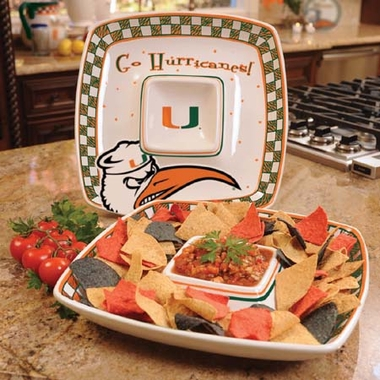 Miami Gameday Ceramic Chip and Dip Platter