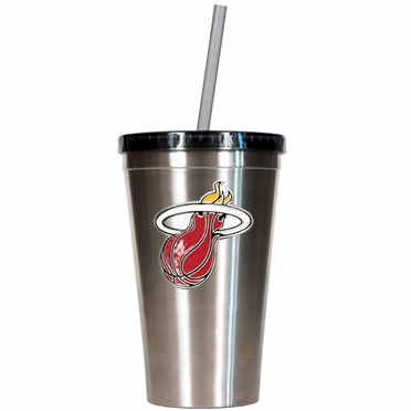 Miami Heat 16oz Stainless Steel Insulated Tumbler with Straw
