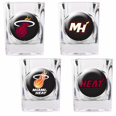 Miami Heat 4 Piece Assorted Shot Glass Set
