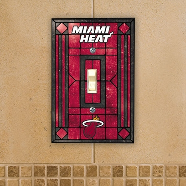 Miami Heat Art Glass Lightswitch Cover