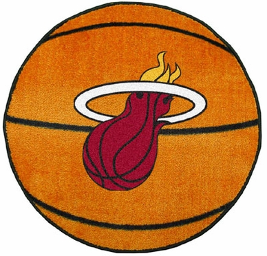 Miami Heat Basketball Shaped Rug